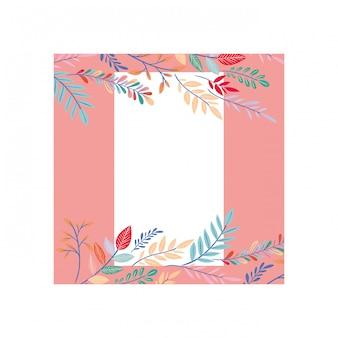 Cadre avec icône de fleurs et feuilles