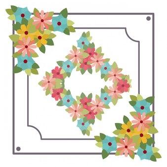 Cadre avec icône isolé de fleurs