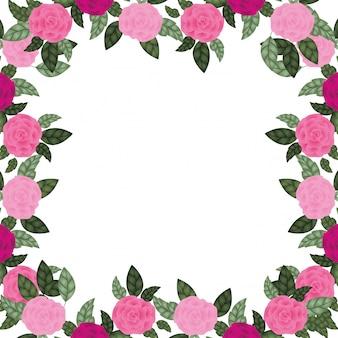 Cadre avec icône isolé rose