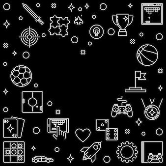 Cadre avec icônes de contour de jeu vidéo en forme de coeur