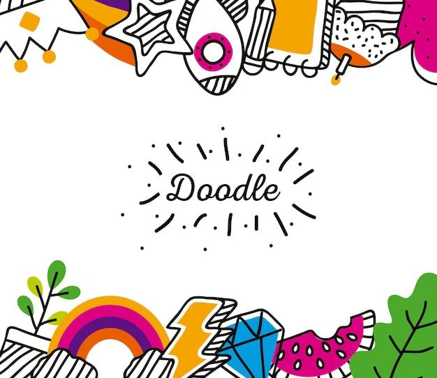 Cadre d & # 39; icônes doodle
