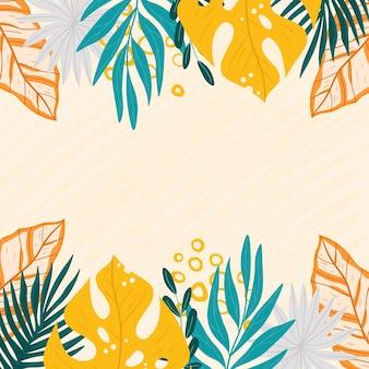 Cadre d'illustration de feuilles tropicales