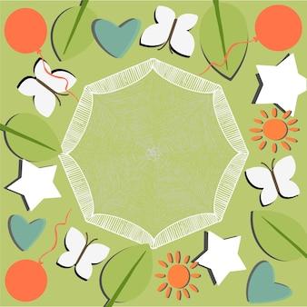 Cadre d'illustration verte de vecteur avec des feuilles peintes arcs coeurs étoiles agitant des boules