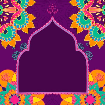 Cadre indien diwali festival rangoli