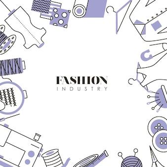 Cadre de l'industrie de la mode avec des icônes