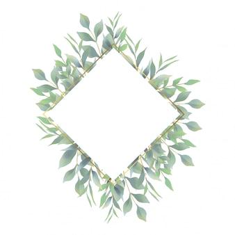 Cadre d'invitation de mariage avec des décorations de feuilles aquarelles