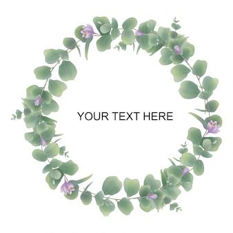 Cadre invitation de mariage feuilles aquarelle d'eucalyptus