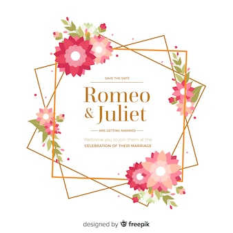 Cadre d'invitation de mariage floral au design plat