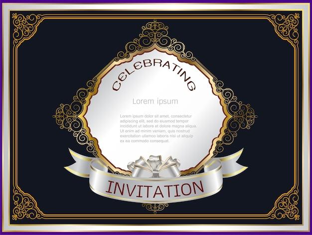 Cadre d'invitation mariage sur noir