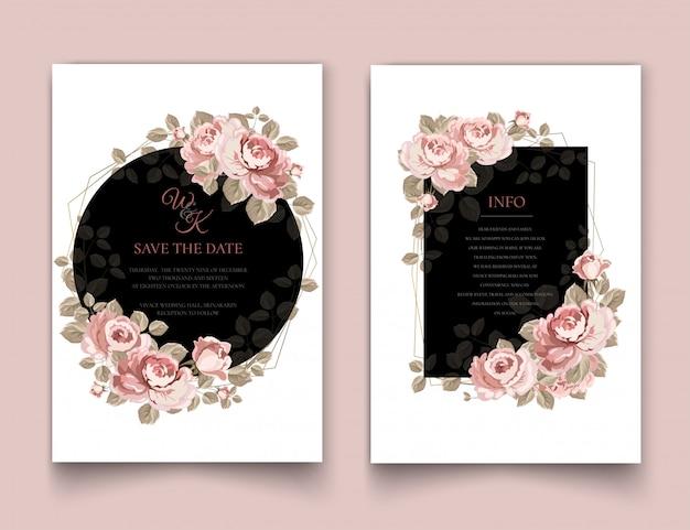 Cadre d'invitation de mariage avec des roses.