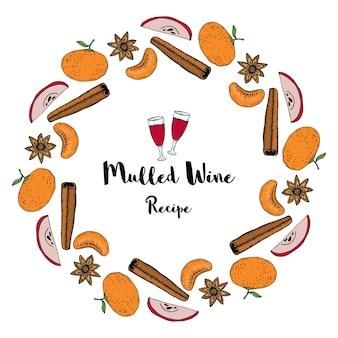 Cadre isolé avec orange, cannelle, anis étoilé et tranche de pomme. cadre de vecteur décoratif pour la conception de recette et de menu. illustration de vin chaud