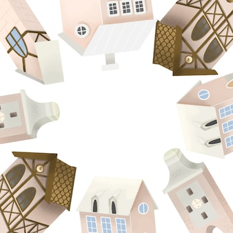 Cadre de jolies maisons bavaroises, illustration dessinée à la main sur blanc