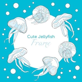 Cadre avec de jolies méduses