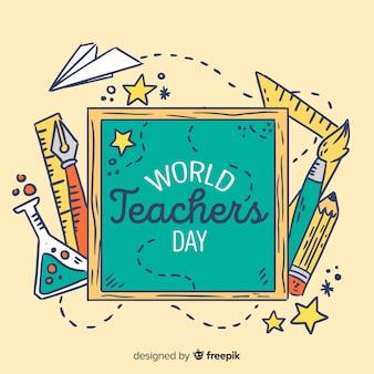 Cadre de la journée mondiale des enseignants dessiné à la main