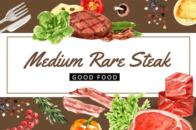 Cadre de journée mondiale de la nourriture avec steak de boeuf, butterhead, illustration aquarelle de bol de salade verte.