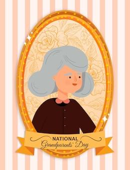 Cadre de la journée nationale des grands-parents dessinés à la main avec grand-mère