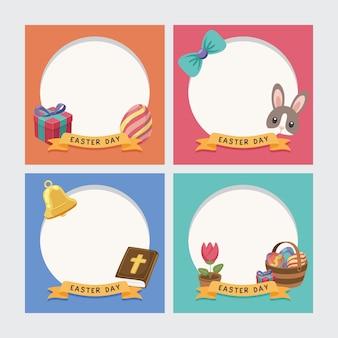 Cadre de joyeuses pâques avec décoration