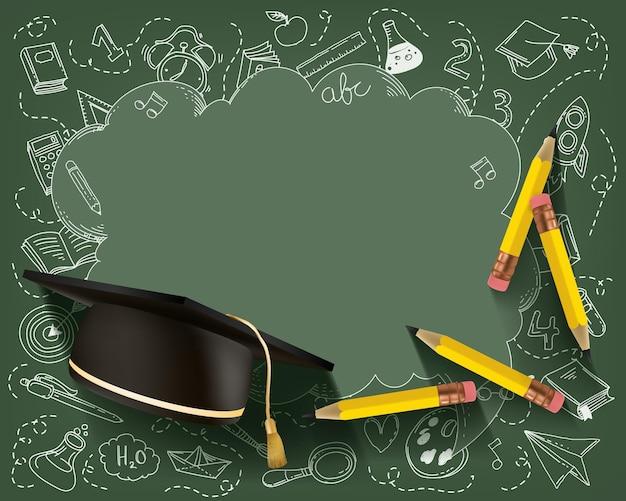 Cadre de kit de papeterie avec crayon et chapeau de graduation. retour au concept de l'école