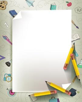 Cadre de kit de papeterie avec un papier. retour au concept de l'école