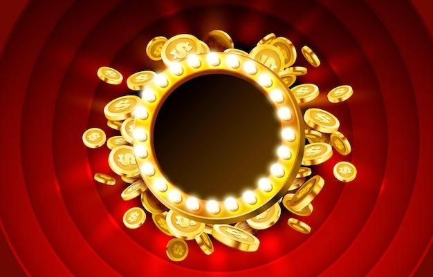 Cadre de lampe de casino avec fond de pièces 3d réalistes d'or.