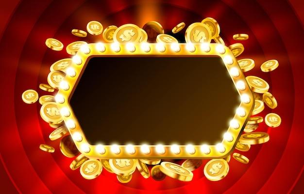 Cadre de lampe de casino avec fond de pièces réalistes en or