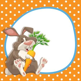 Cadre avec lapin et carotte