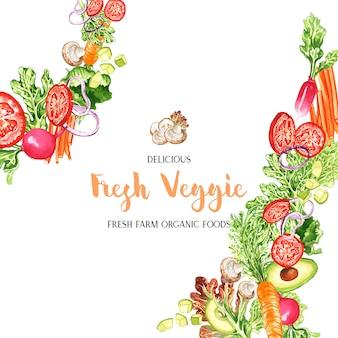 Cadre de légumes aquarelle