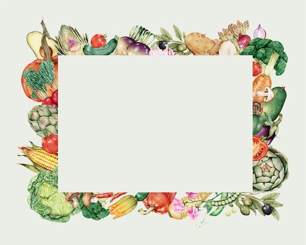 Cadre de légumes dans un style dessiné à la main