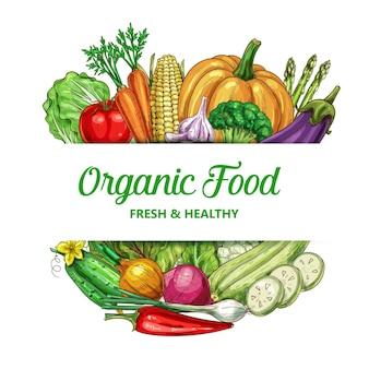 Cadre de légumes de ferme avec des aliments biologiques
