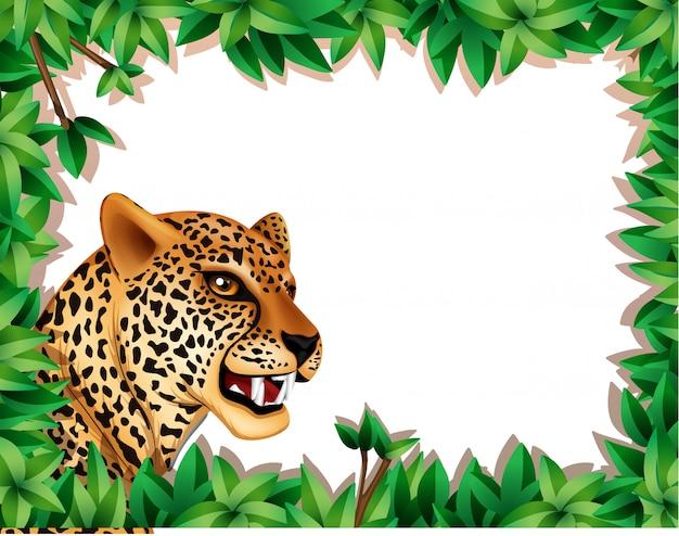 Cadre léopard avec feuilles