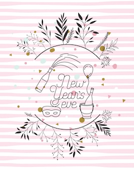 Cadre avec lettrage de bonne année et couronne