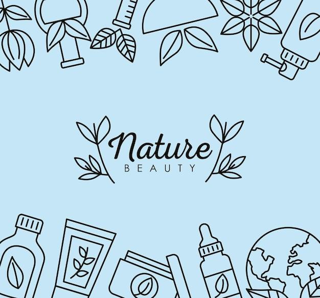 Cadre et lettrage de cosmétiques biologiques