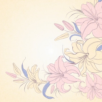 Cadre de lily isolé sur sépia.