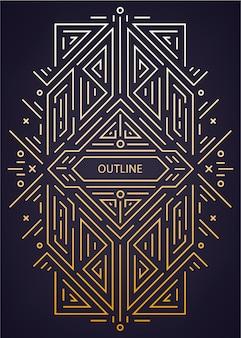 Cadre linéaire géométrique art déco antique de luxe, frontière.