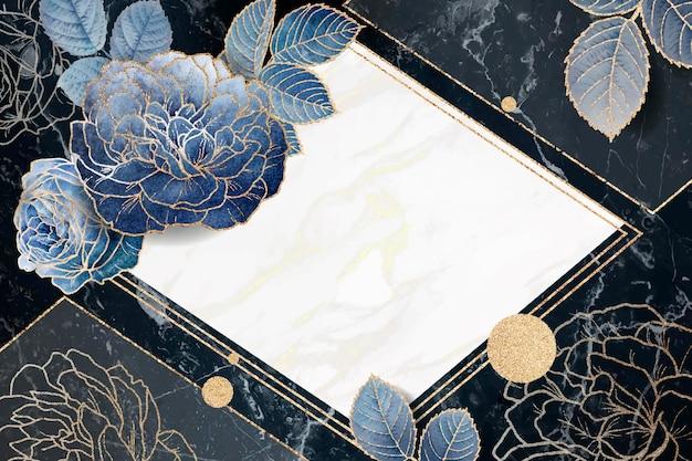 Cadre de losange doré floral blanc