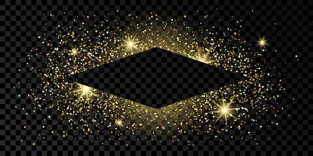 Cadre en losange doré avec des paillettes, des étincelles et des fusées éclairantes sur fond transparent foncé. toile de fond de luxe vide. illustration vectorielle.