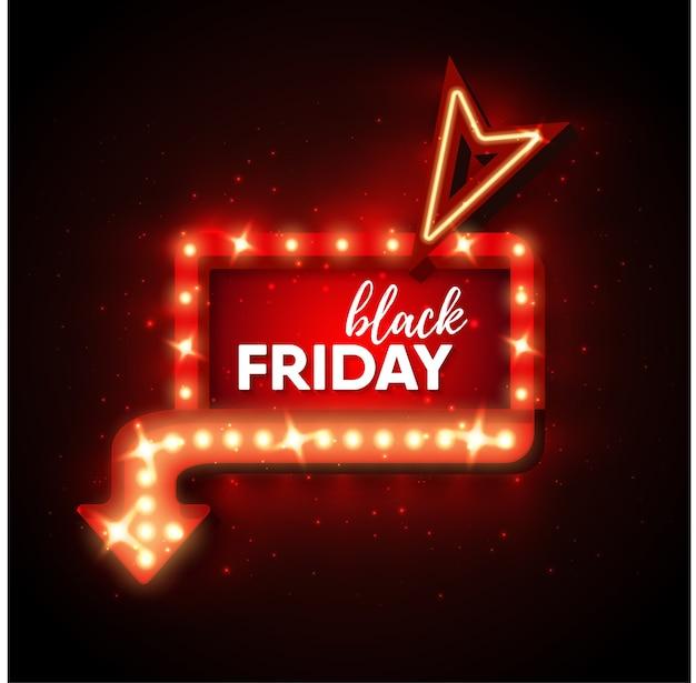Cadre de lumière rétro vente vendredi noir avec ampoules rougeoyantes de flèche