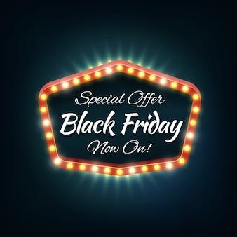Cadre de lumière vendredi noir, bannière rétro