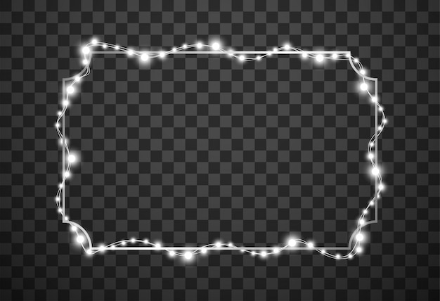 Cadre avec lumières de noël isolé sur fond transparent
