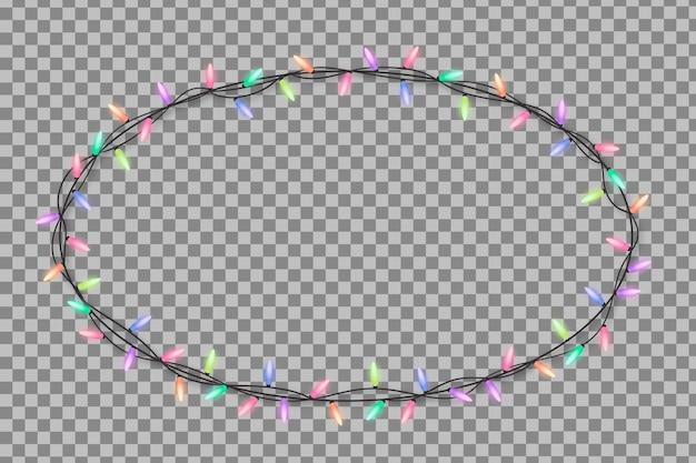 Cadre de lumières de noël réaliste