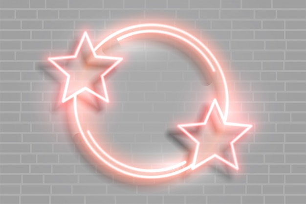 Cadre lumineux étoile néon avec espace de texte