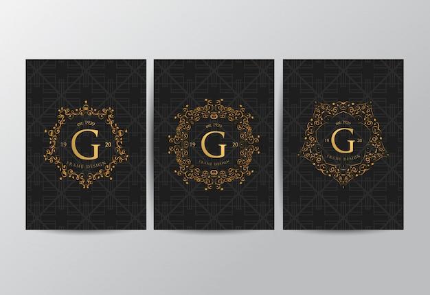 Cadre de luxe avec couleur dorée
