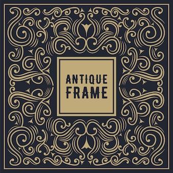 Cadre de luxe vintage carré calligraphique, gravure dessinée à la main étiquette logo antique occidental