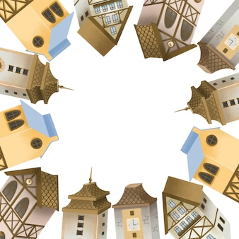 Cadre de maisons bavaroises, tours de la vieille ville européenne, illustration dessinée à la main sur blanc
