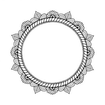 Cadre de mandala de ligne dessinée à la main