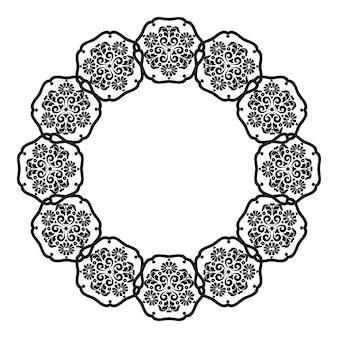 Cadre mandalapour la conception de menus de cadresinvitations de mariagegraphiques numériques noir et blanc