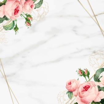 Cadre en marbre floral doré