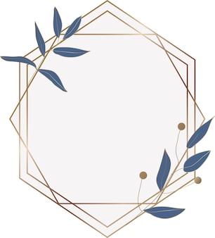 Cadre en marbre géométrique avec des feuilles bleues