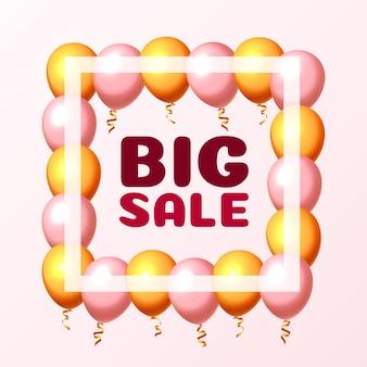 Cadre de marché de ballon de grande vente sur le fond rose. illustration vectorielle