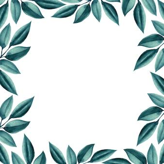 Cadre de mariage aquarelle feuilles vertes.